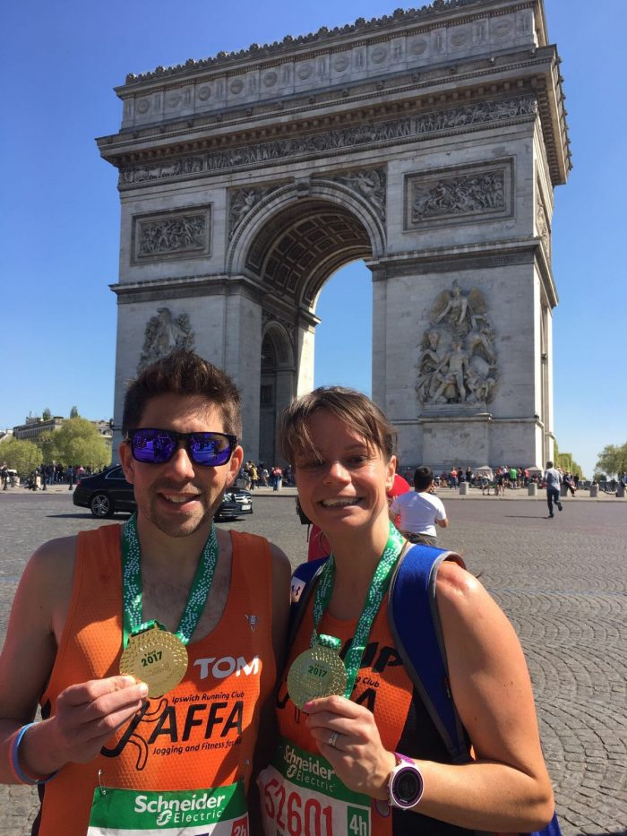 Tom and Pip after the Paris Marathon