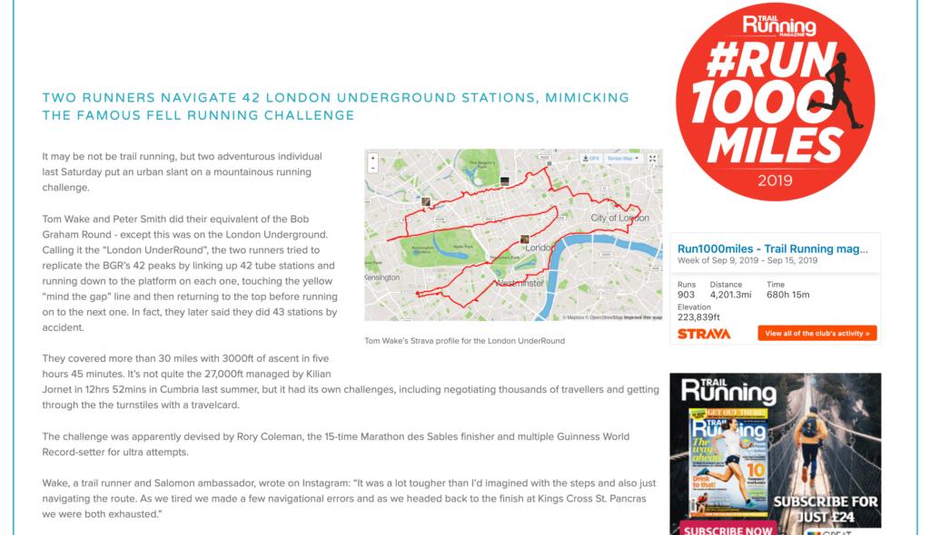 Trail Running Magazine Underround Article